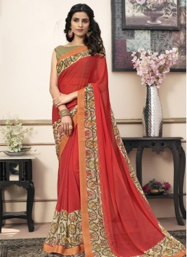 Lace Work Cream and Tomato Traditional Saree
