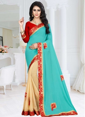 Lace Work Cream and Turquoise Half N Half Saree