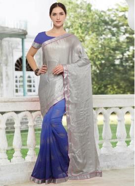 Lace Work Crepe Silk Half N Half Designer Saree For Casual