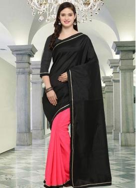 Lace Work Crepe Silk Half N Half Trendy Saree
