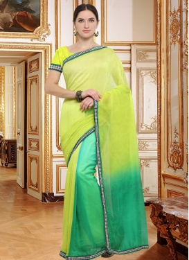 Lace Work Crepe Silk Trendy Classic Saree