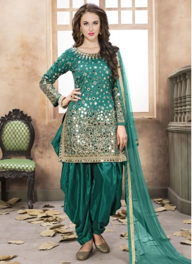 Lace Work Designer Semi Patiala Salwar Suit