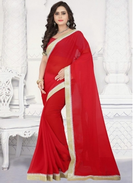 Lace Work Faux Chiffon Contemporary Style Saree