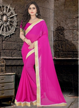 Lace Work Faux Chiffon Trendy Classic Saree