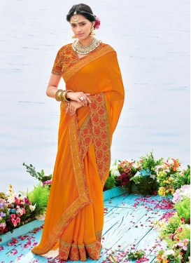 Lace Work Faux Chiffon Trendy Classic Saree For Festival