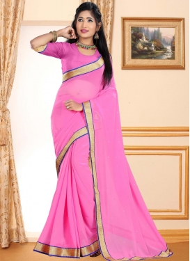 Lace Work Faux Georgette Contemporary Saree