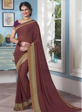 Lace Work Faux Georgette Contemporary Saree For Festival