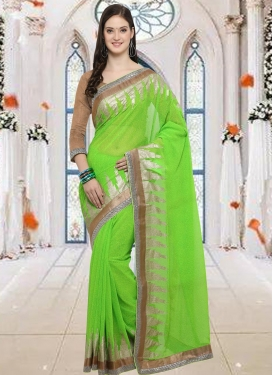Lace Work Faux Georgette Contemporary Style Saree For Casual