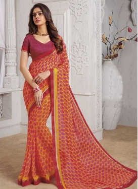 Lace Work Faux Georgette Designer Contemporary Style Saree
