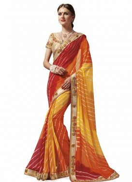 Lace Work Faux Georgette Mustard and Red Traditional Saree