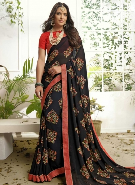 Lace Work Faux Georgette Traditional Designer Saree For Festival