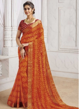 Lace Work Faux Georgette Traditional Saree
