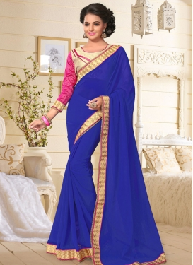 Lace Work Faux Georgette Trendy Classic Saree For Casual