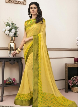 Lace Work Faux Georgette Trendy Saree For Casual