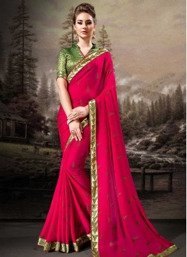 Lace Work Green and Rose Pink Contemporary Saree