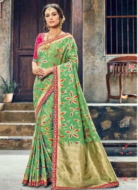Lace Work Green and Rose Pink  Trendy Saree