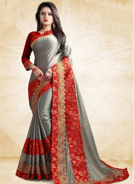 Lace Work Grey and Red Traditional Designer Saree