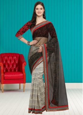 Lace Work Half N Half Trendy Saree