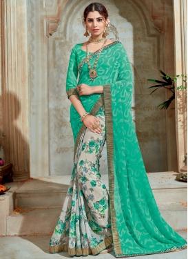 Lace Work Half N Half Trendy Saree For Festival