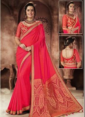 Lace Work Jacquard Silk Contemporary Saree