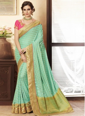 Lace Work Jacquard Silk Contemporary Style Saree