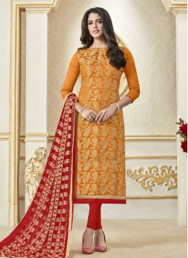 Lace Work Jacquard Silk Orange and Red Trendy Churidar Suit