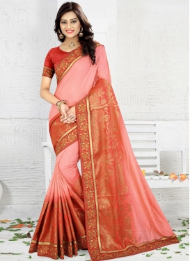 Lace Work Jacquard Silk Red and Salmon Contemporary Style Saree