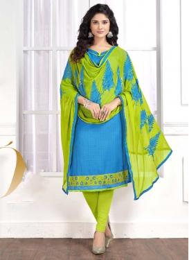 Lace Work Light Blue and Mint Green Trendy Straight Salwar Kameez