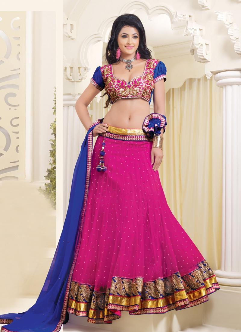 Lace Work Magenta Color Wedding Lehenga Choli