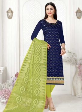 Lace Work Mint Green and Navy Blue Cotton Trendy Straight Suit