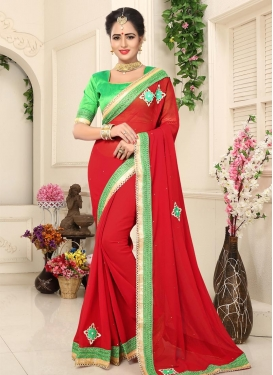 Lace Work Mint Green and Red Contemporary Saree