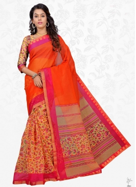 Lace Work Mustard and Orange Half N Half Trendy Saree