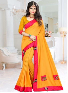 Lace Work Mustard and Rose Pink Classic Saree