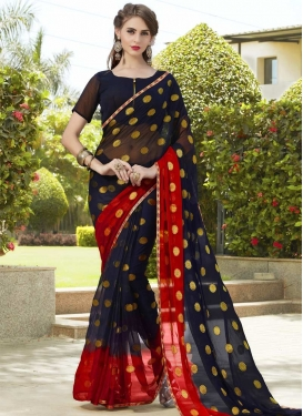 Lace Work Navy Blue and Red Contemporary Saree
