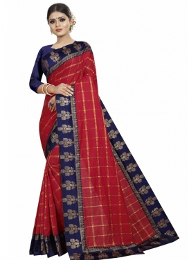 Lace Work Navy Blue and Red Trendy Classic Saree