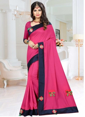 Lace Work Navy Blue and Rose Pink Contemporary Saree