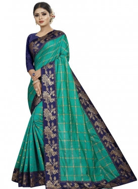 Lace Work Navy Blue and Sea Green Trendy Saree