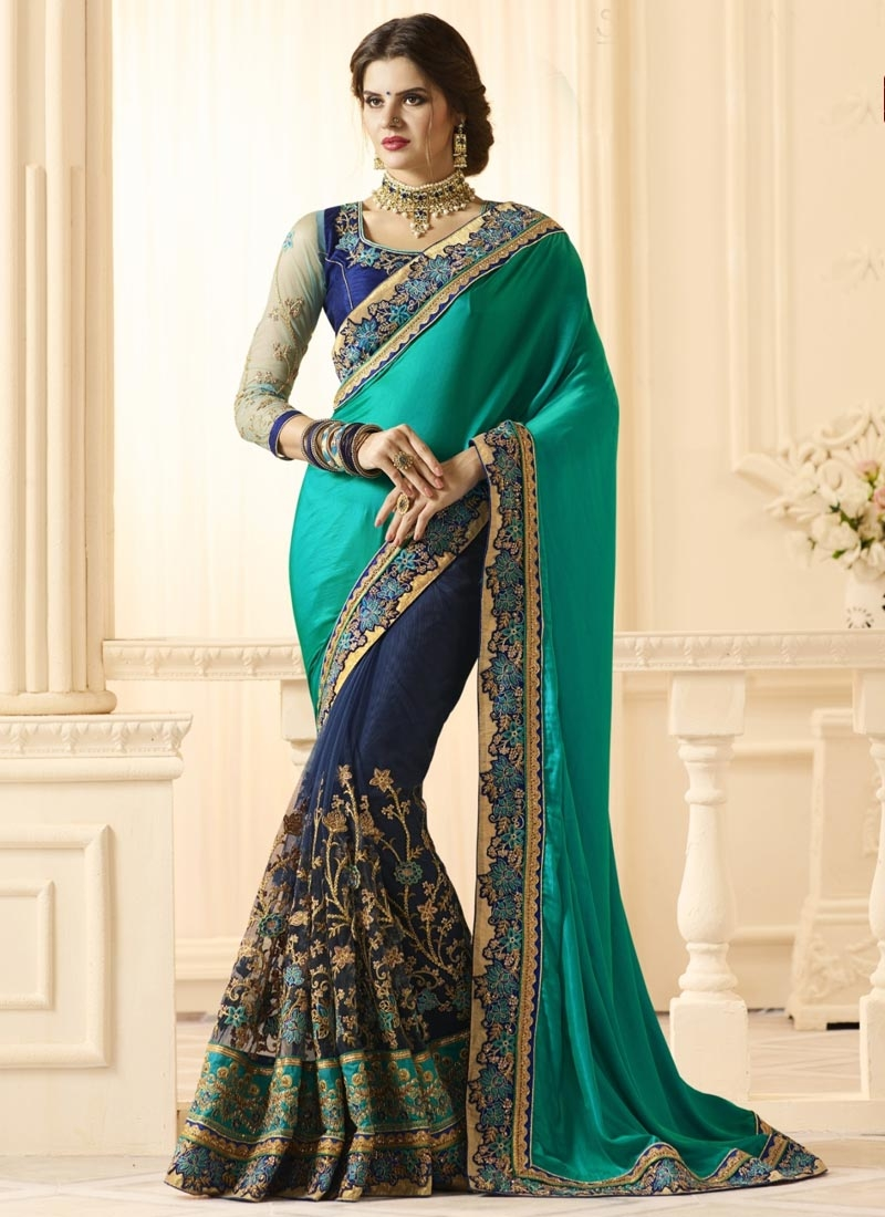 Lace Work Net Half N Half Trendy Saree For Bridal