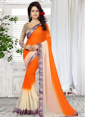 Lace Work Off White and Orange  Contemporary Style Saree