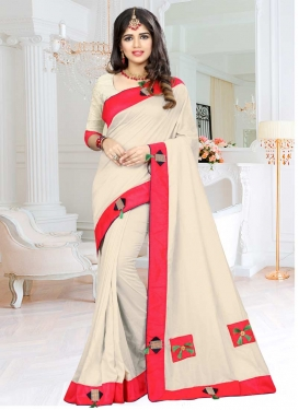 Lace Work Off White and Rose Pink Trendy Classic Saree