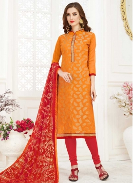 Lace Work Orange and Red Cotton Trendy Churidar Salwar Kameez