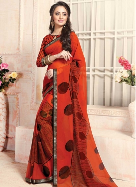 Lace Work Orange and Red Trendy Classic Saree