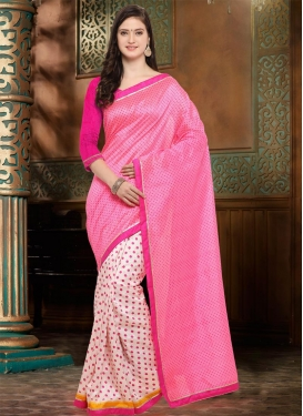 Lace Work Pink and White Half N Half Saree