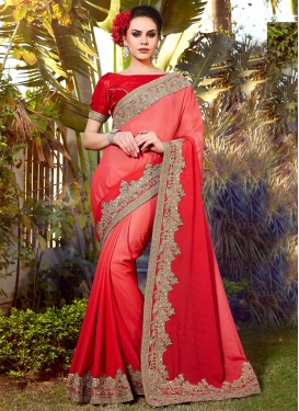 Lace Work Red and Salmon  Designer Contemporary Style Saree