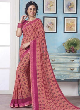 Lace Work Rose Pink and Salmon Trendy Classic Saree