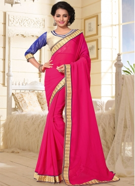Lace Work Rose Pink Classic Saree