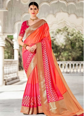 Lace Work Satin Silk Classic Saree For Ceremonial