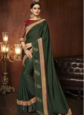Lace Work Satin Silk Designer Contemporary Saree