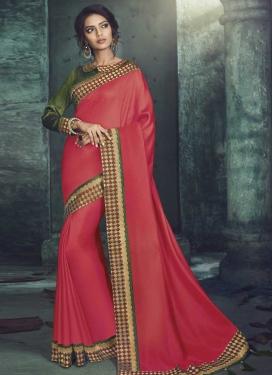 Lace Work Satin Silk Trendy Classic Saree