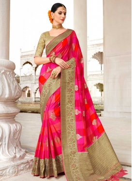 Lace Work Satin Silk Trendy Classic Saree